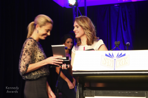 Kellie Sloane presents Allison langdon of 60 Minutes with the Kennedy Award for Outstanding Television Current Affairs