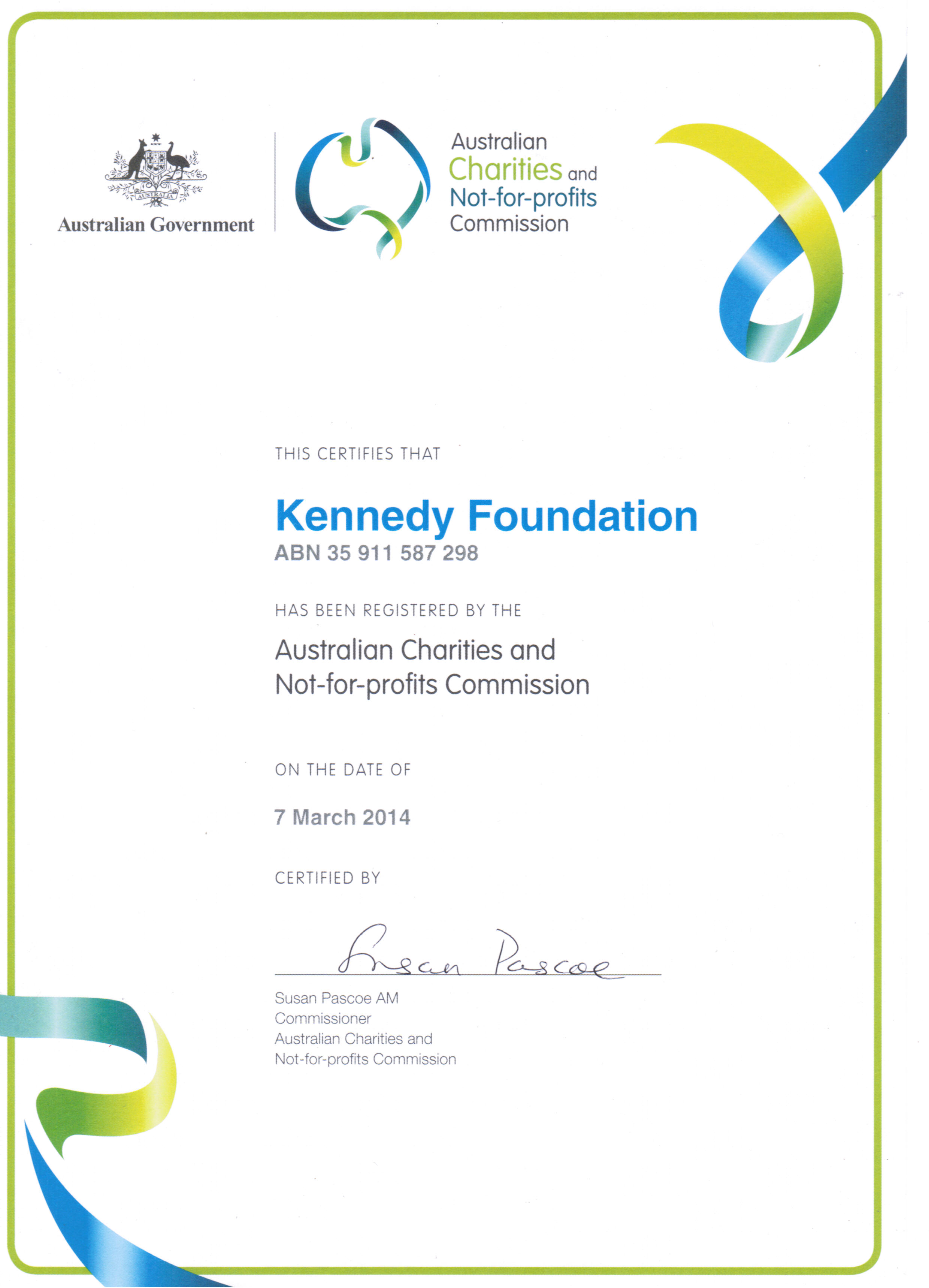 Certificate from Charities and Not for Profit Commission