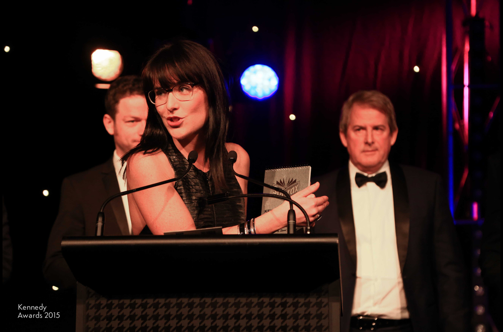 Caro Meldrum-Hanna collects the inaugural Peter Frilingos Award for Outstanding Sport Reporting