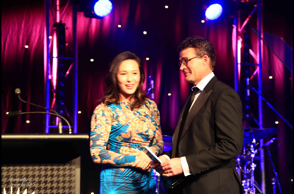 Brett Costello of The Daily Telegraph with ATP executive vice president Alison Lee, collecting the Kennedy Award for Outstanding Sports Photo