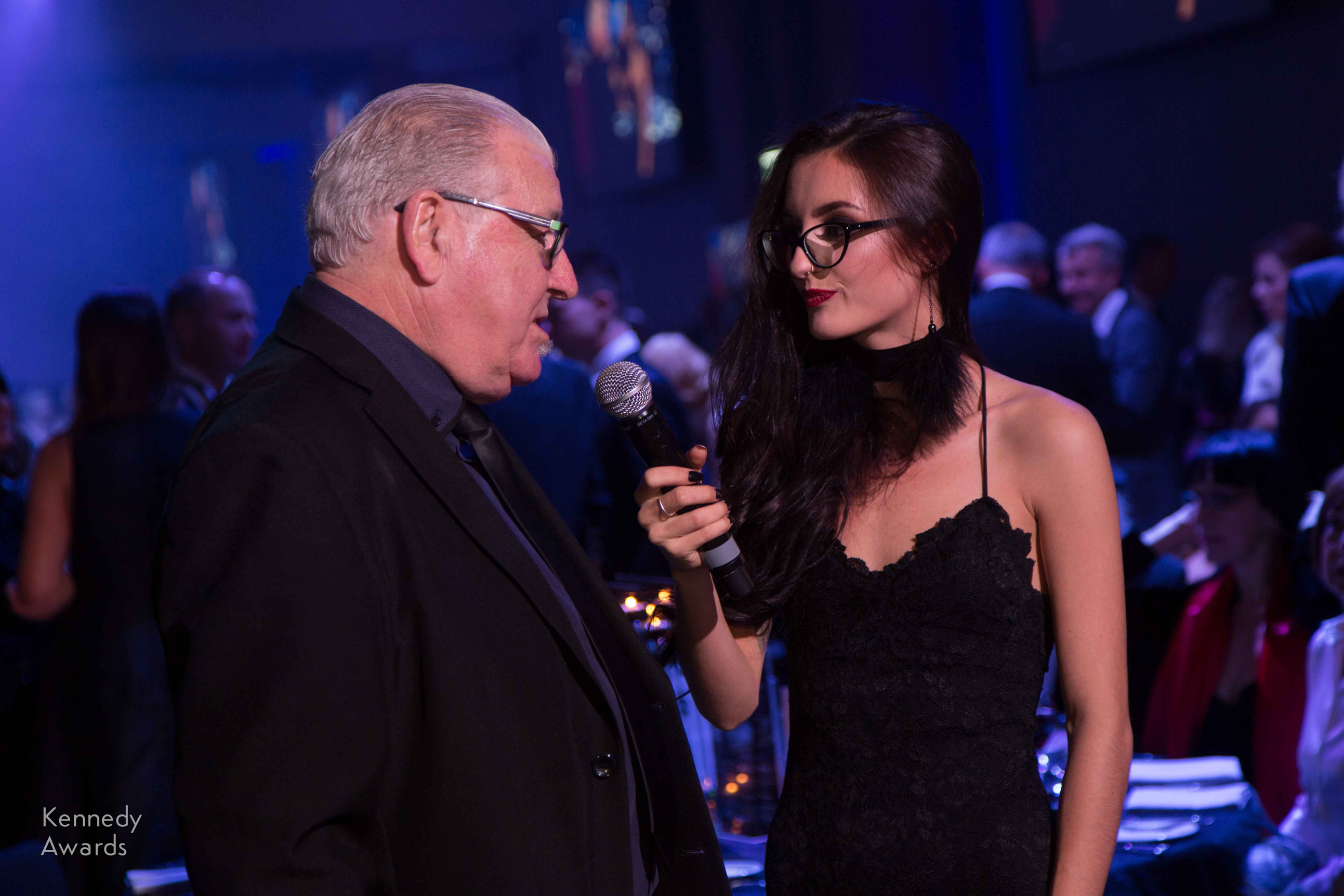 White Runway host Jett Allen-Rhoades interviews Kennedy Foundation Trustee Geoff Greenwood on his magnificent attire