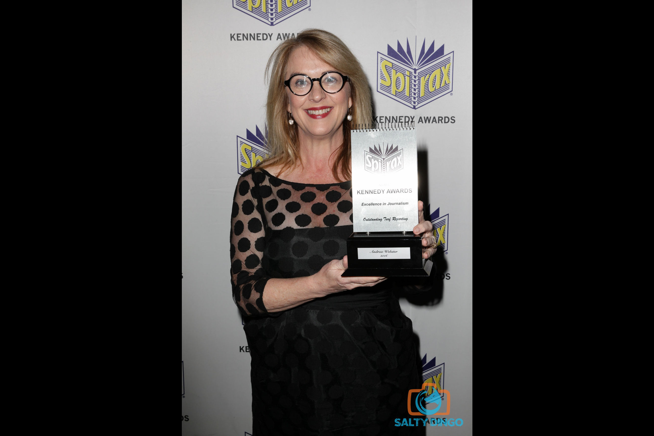 Sydney Morning Herald editor Judith Whelan collecting Andrew Webster's Spirax for Outstanding Turf Reporting